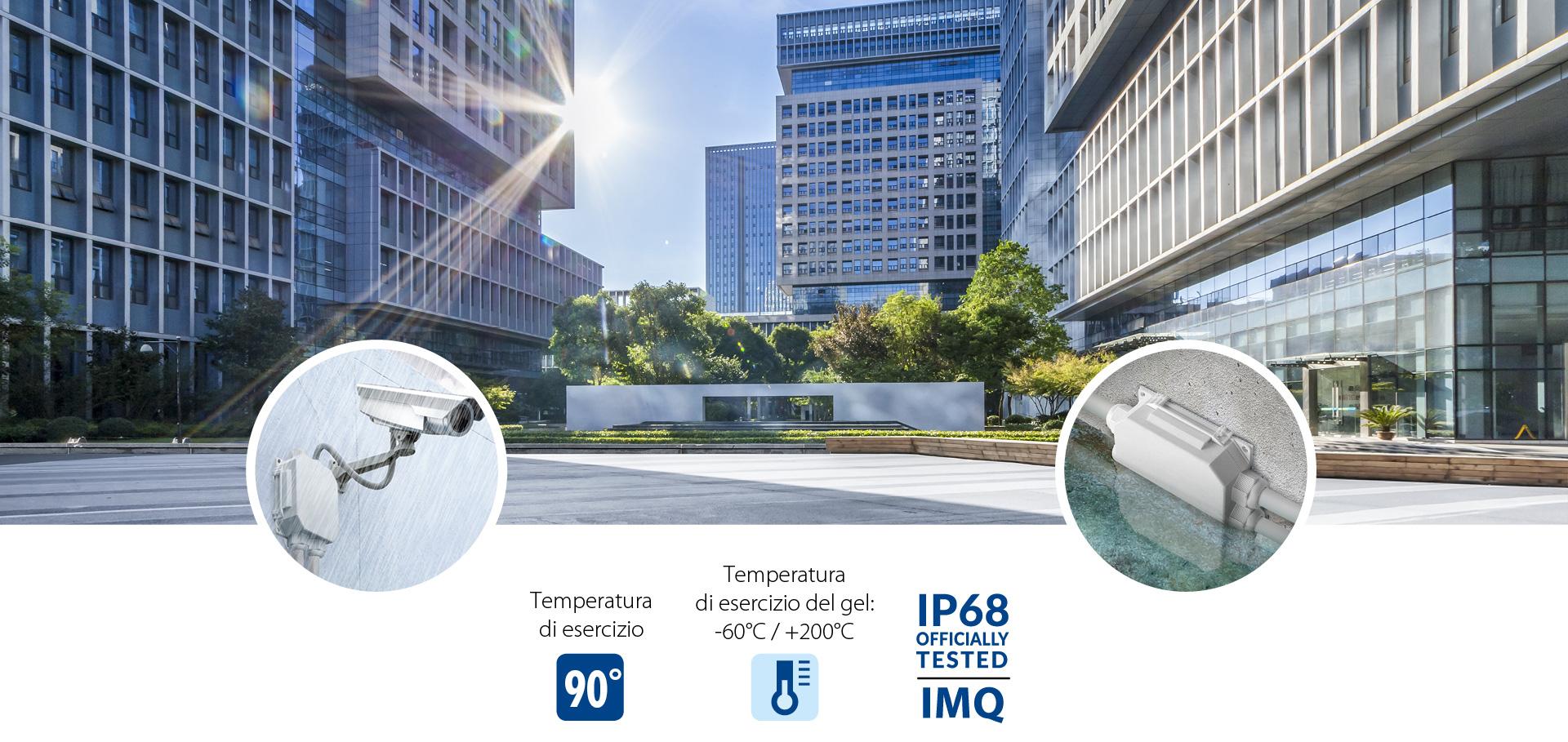 Ready Box - Temperatura di esercizio: 90°, Temperatura di esercizio del gel: -60° C/+200° C, IP68 IMQ
